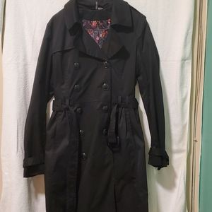 H&M Black Trench Coat with Floral Lining